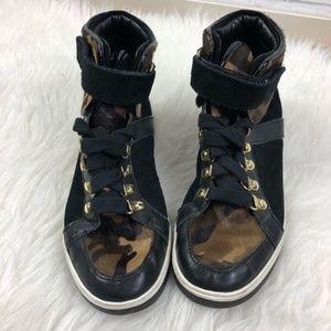 Michael Kors Suede Camouflage High Top Sneakers